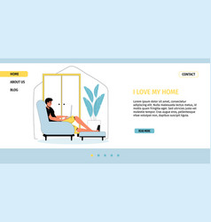 Productive time spending at home landing page vector