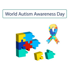 Puzzles and ribbon with world autism day vector