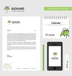 raining and umbrella business letterhead calendar vector image