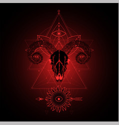 Ram skull and sacred symbol vector
