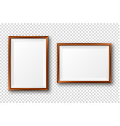 realistic blank wooden picture frame modern vector image