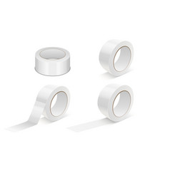 realistic white 3d glossytape roll icon set vector image