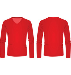 Red v neck long sleeve t shirt vector