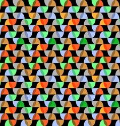 Retro colorful geometric seamless pattern on black vector image
