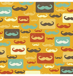 retro seamless pattern with mustache vector image