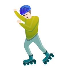 Rider inline skates icon cartoon style vector