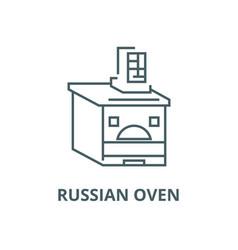 Russian oven line icon linear concept vector