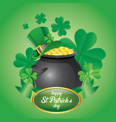 saint patricks day with pot full of coins vector image
