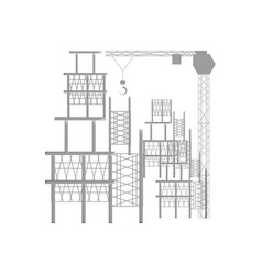 Scaffold and tower crane vector