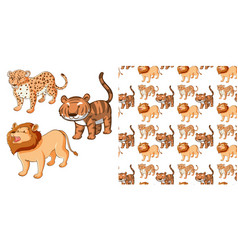 seamless background design with tiger and lion vector image