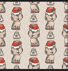 seamless pattern with the cute cat with santa hat vector image