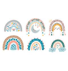 set cute cartoon rainbows for kids vector image