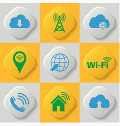 set of nine icons vector image