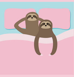 Sloth family love couple sleeping cant sleep vector