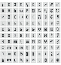 smartphone 100 icons universal set for web and ui vector image