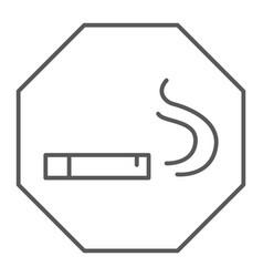 smoking area thin line icon smoke and cigar vector image
