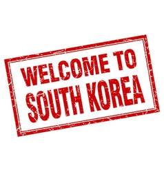 South Korea red square grunge welcome isolated vector image
