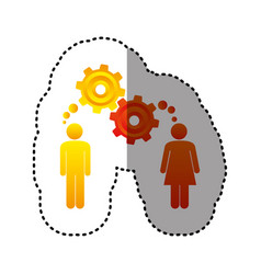 Sticker colorful pictogram man and woman with vector