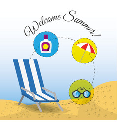 summer umbrella sun glasses chair and sunscreen vector image