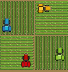 Top view of tractors working on the farm vector
