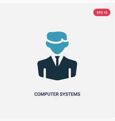 two color computer systems analyst icon from vector image