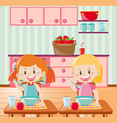 Two kids eating breakfast in kitchen vector