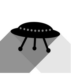 Ufo simple sign black icon with two flat vector