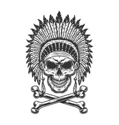 Vintage monochrome indian chief skull vector