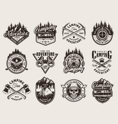 Vintage summer camping prints vector