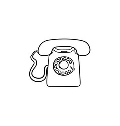 vintage telephone hand drawn outline doodle icon vector image