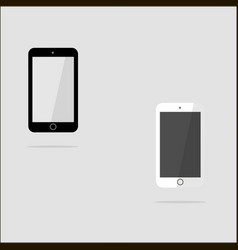 white and black smart phone in the style of the vector image