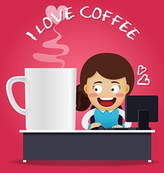 Woman working on computer with big coffee cup vector image