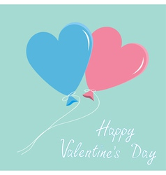 Blue and pink balloons hearts alentines Day vector image vector image