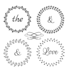 Collection of floral frames Cute hand drawn vector image vector image