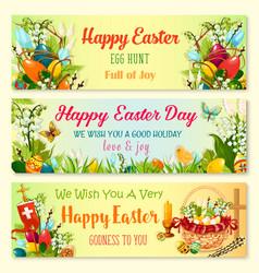 easter day and egg hunt celebration banner set vector image