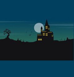halloween landscape castle and moon vector image vector image