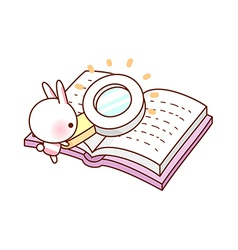 A reading through magnifying glass vector image vector image