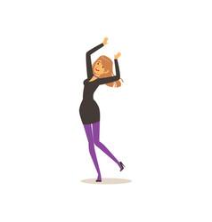 Attractive girl in elegant black dress dancing vector