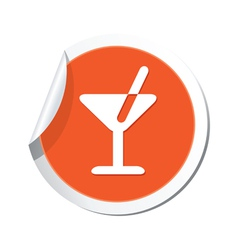 cocktail simbol orange tag vector image