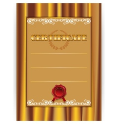 gold certificate with a textile background vector image