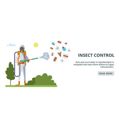 insect control banner horizontal cartoon style vector image