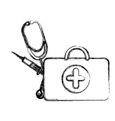 profile suitcase health with stethoscope and vector image