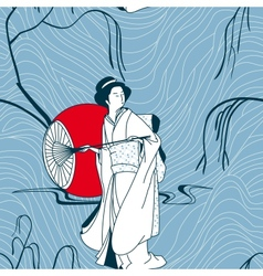 background with a japan girl vector image
