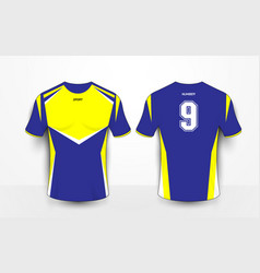 Blue and yellow sport football kits jersey t-shirt vector