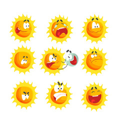 cute cartoon sun various emoticons emotional face vector image vector image