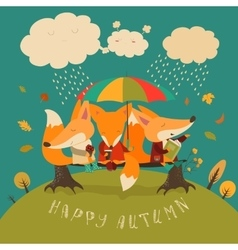 Cute foxes sitting under an umbrella on a log vector image vector image