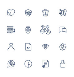 set with 16 icons for mobile app sites mobile vector image vector image