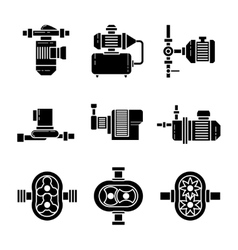 Water pump black icons sets vector