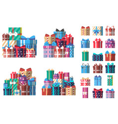 Colorful gift box set in flat design vector
