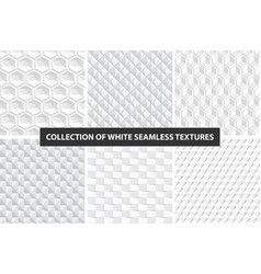 decorative white seamless textures geometric vector image vector image